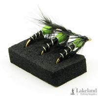 3x, 6x or 12x Hot Spot Spider Wet Flies for Trout Fly Fishing - Green or Red