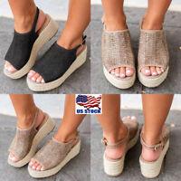 Women Flat Wedge Heel Espadrille Woven Sandals Ladies Flatform Peep Toe Shoes US