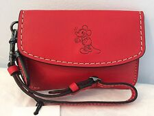 Disney x Coach MICKEY Envelope Key Pouch in Red Glovetanned Leather ~ 66146
