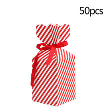 50x Christmas Gift Box DIY Cake Candy Cookie Paper Packaging Wedding Gift Ribbon