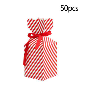 50x Christmas Cookie Candy Box Gift Bag Boxes with Ribbon Wedding Party Supplies