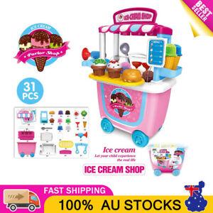 Simulation Ice Cream Shop Cart Kids Pretend Toy Set Supermarket Role Play