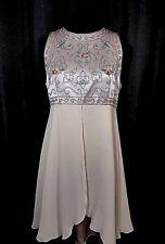 Lavender Grey Silk Chiffon Dress Beaded Bodice Sleeveless Size 8P Karen Unger