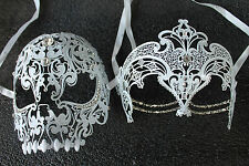 White Beauty & Demon Skull Couple Masquerade Masks with Clear Rhinestones