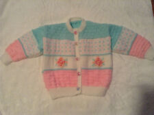 New Hand Knitted & Embroided Baby Girl Cardigan - 12 months