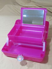 Vintage Caboodles Mirror Pink Satin Jelly Makeup Case Cosmetic Pageant 2622