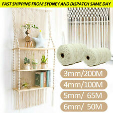3/4/5/6 mm Macrame Rope Natural Beige Cotton Twisted Cord Artisan Hand Craft AU