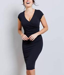 BRAVISSIMO Jessica Dress Midi Black/Navy Formal Work Dress  RRP £60 BR189
