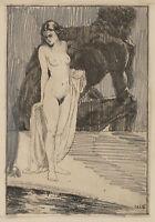 Carl WALTHER (1880-1956), Denker und weiblicher Akt II, Radierung und Bleistift