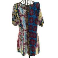 Anthropologie Fei 100% Silk Tunic Top Blouse Boho Print Short Sleeve Size XS