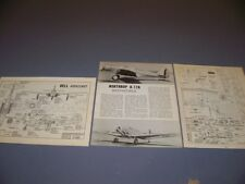 VINTAGE..P-59A AIRACOMET & NORTHROP A-17A & R-680 ENGINE...3-VIEWS..RARE! (507M)