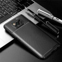 Für Xiaomi POCO X3 NFC Hülle Weiche Silikon Abdeckung Kohlefaser TPU Stoßfeste ❤