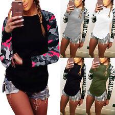 Plus Size Women Camo Long Raglan Sleeve T-shirt Pullover Casual Blouse Top Tee