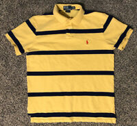 Mens Polo Ralph Lauren Short Sleeve Collar Shirt L Large Custom Fit Stripes Navy