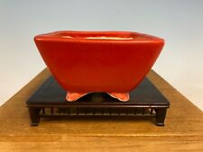 Stunning Red Glazed Shohin Size Tokoname Bonsai Tree Pot Made Koyo 4 1/2�