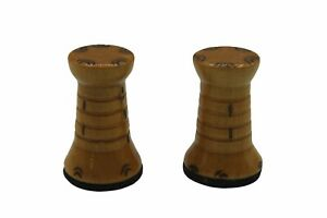 """Lot Of 2 Wood Rook Chess Pieces Light Felt Bottom 2"""" Tall Replacements"""