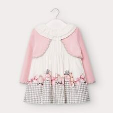 New Baby Girl Mayoral Dress With Attached Cardigan , Age 6 Months , (2950)