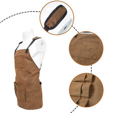 Bib Apron Leather Strap Barista Baker Bbq Chef Barber Work Uniform Cook Canvas