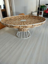 Home Decor decorative plate/bowl on stand metal wicker