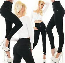 Damen Jeans Hose High Waist Röhrenjeans Skinny Corsage hoher Bund Schwarz XS-XL