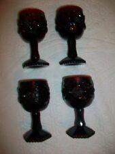 "Set of 4 Avon Cape Cod Ruby Red Mini Stemmed Goblets 4 1/2"" Glasses"