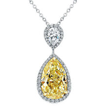 Fancy Yellow Pear Shape Diamond Ladies Pendant GIA Certified 18k Gold 6.83 Carat