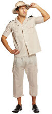 SAFARI JUNGLE EXPLORER COSTUME & HELMET HAT EIGHTH ARMY MENS FANCY DRESS OUTFIT