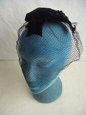 """Vtg 60s Black Velvet Roses & Bow Net Veil Hat- 14"""" diameter"""