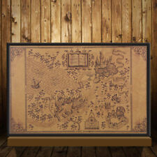 Retro Harry Potter Magic Old World Map Brown kraft Paper Wizarding Poster 72x26