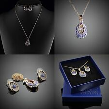 Damen 18K vergoldet Blau Schmuck Set Halskette Ohrringe Swarovski Element /167