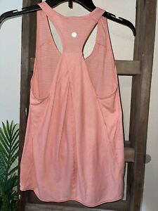 Lululemon Essential Tank Size 6 Orange Coral Peach Relaxed Fit EXCELLENT