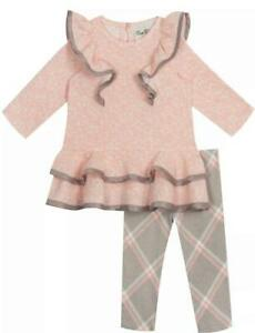 """NEW Rare Editions Girls Size 4T """"PINK & GRAY PLAID"""" Peplum Pinafore Top Pant NWT"""