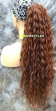 Human Hair Blend Long Light Auburn Spiral Curls Ponytail HairPiece Extension NWT