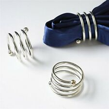 Silver metal threaded napkin ring, set of 10