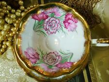 QUEEN ANNE VINTAGE TEA CUP AND SAUCER PINK CARNATIONS SPONGED GOLD TRIM  BEAUTY
