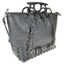 Vixxsin Goth Punk Rock Large Brass Knuckles Handles Black Tote Handbag