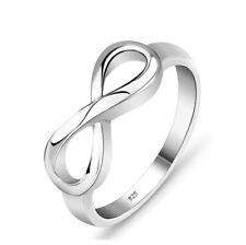 RING INFINITY Eternal Love Unendlichkeit Liebe 925 STERLING SILBER  Strass Herz