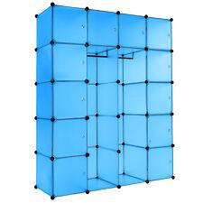 Etagère enfichable XXL penderie à vêtements rangement 147x47x183cm meuble bleu