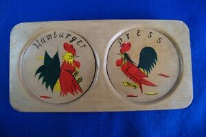 Vintage Double Wooden Hamburger Patty Press with Hand Painted Rooster Japan