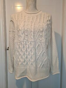 GEORGE LADIES CREAM THICK CHUNKY CABLE KNIT FISHERMAN SWEATER JUMPER SIZE SMALL