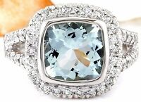 3.25 Carat Natural Aquamarine 14K Solid White Gold Diamond Ring