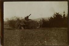 PHOTO ANCIENNE - VINTAGE SNAPSHOT - MILITAIRE CANON CAMOUFLAGE - MILITARY WEAPON