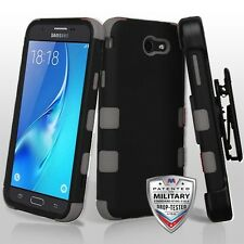 Rubberized Black Holster Hybrid Cover Phone Case for Samsung Galaxy J7 Sky Pro