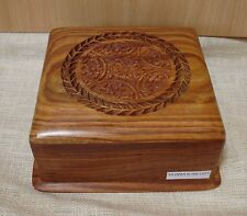 Fair Trade Square big Secret Lock wooden trinket box Beautiful Jali wood carving