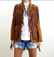 American Traditional Women Western Jacket Suede Leather Fringe Jacket, Vintage
