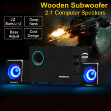 Wooden 2.1 Computer Speakers 3D Surround Sound Stereo Bass Speaker Subwoofer