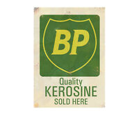 BP Kerosine Metal Garage Advertising Sign Workshop Vintage Shed Car Motor Plaque