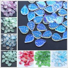 CHOOSE COLOR! 50Pcs Czech Lampwork Glass Teardrop Leaves Pressed Beads HH6652