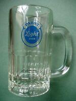 Vtg Pabst Light Logo Glass Beer Mug 12oz Heavy HTF Blue Ribbon