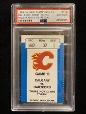 1986 BRETT HULL 1st NHL REG SEASON GAME & GOAL TICKET CALGARY FLAMES PSA BLUES